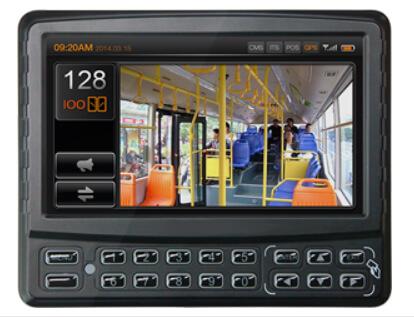 an lcd screen showing the scene inside a public bus